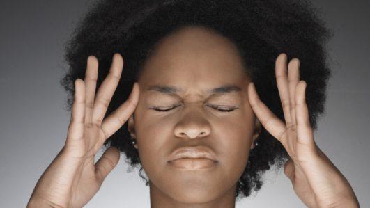 A lady with headache
