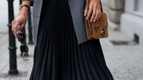 A pleated skirt