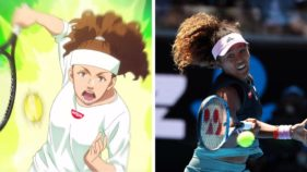 At left, a cartoon version of Naomi Osaka in an ad for Nissin, a Japanese instant-noodle brand; at right, the real Ms. Osaka at the Australian Open this month.