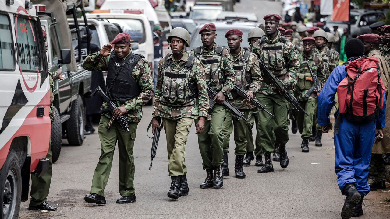 Sniffer dogs, bomb experts comb through Kenya attack site