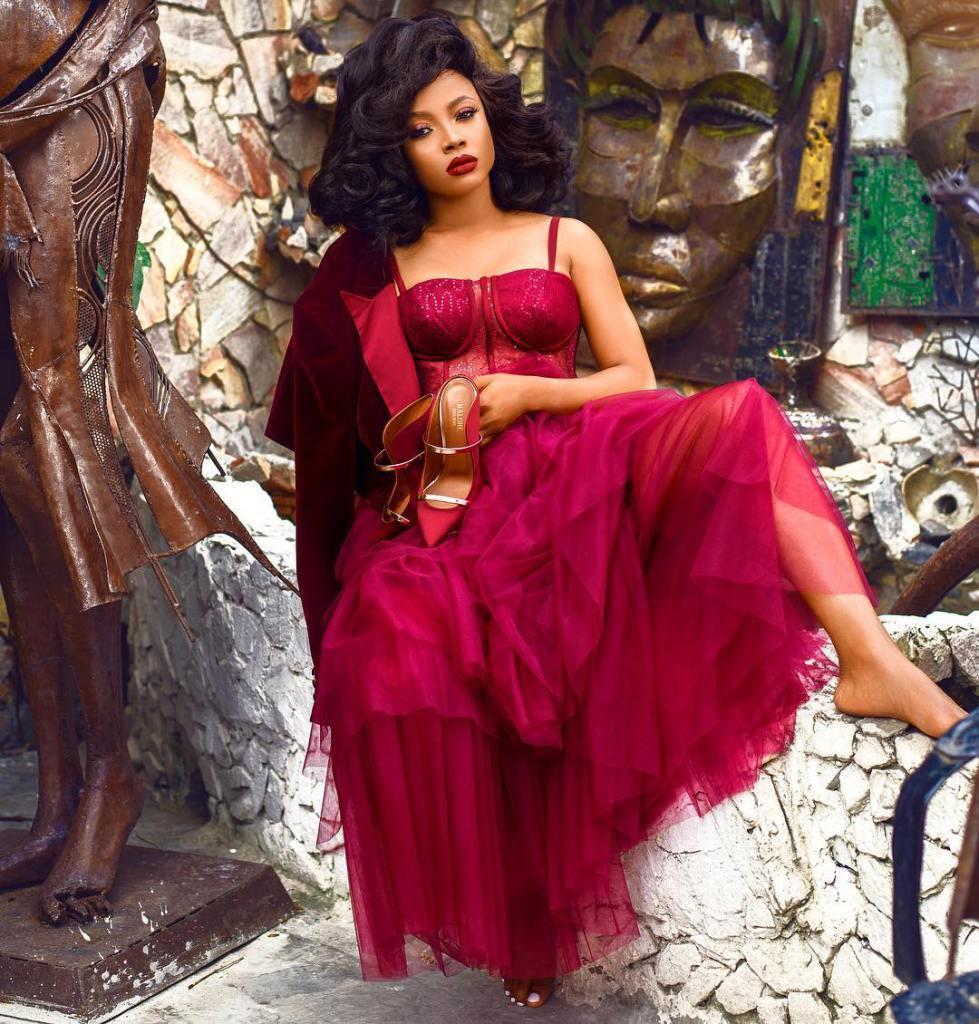 Toke Makinwa wearing Red