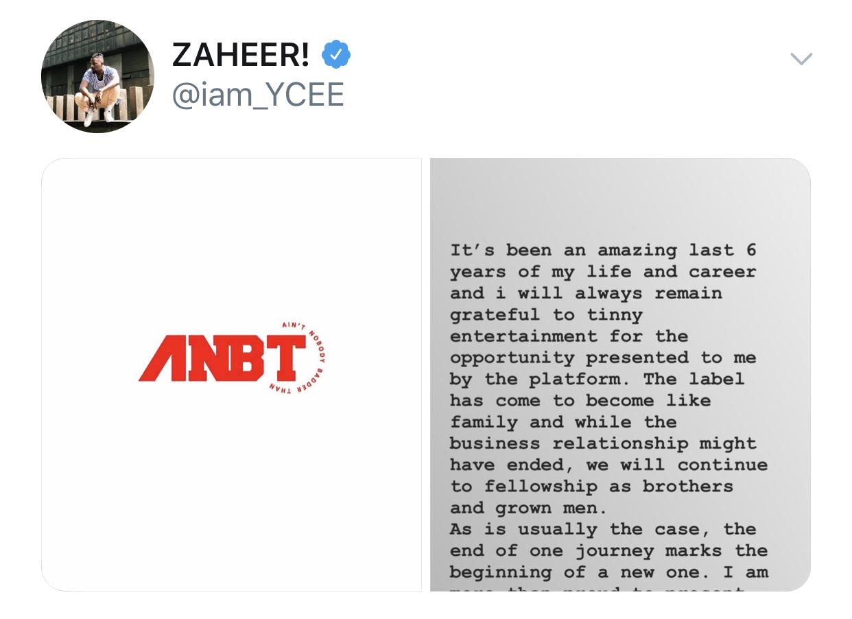 YCee Announcement Tweet