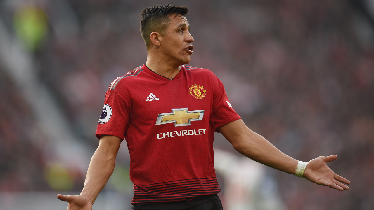053194cec Manchester United s Chilean striker Alexis Sanchez reacts during the  English Premier League football match between Manchester United and  Liverpool at Old ...