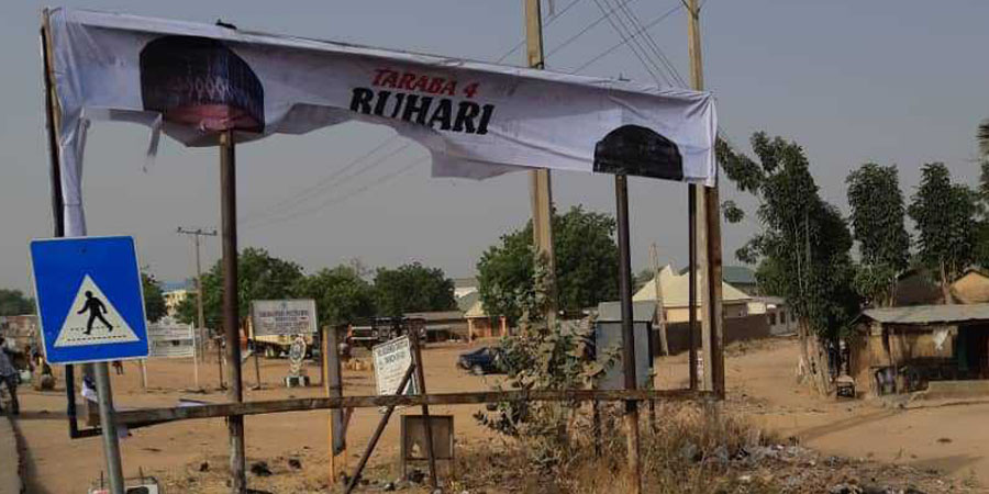 Image result for Adamawa APC protests destruction of Buhari's billboards