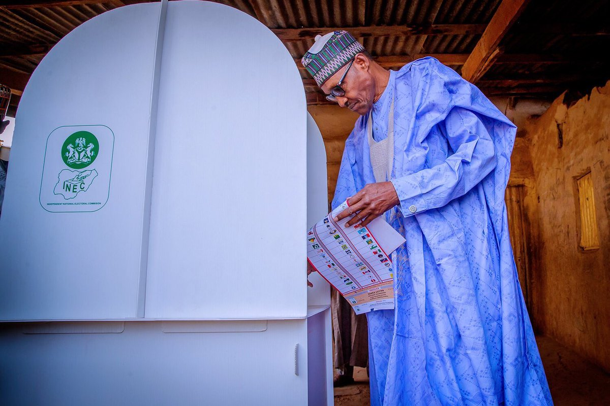 """I am going to be the winner"", says Buhari as he votes 