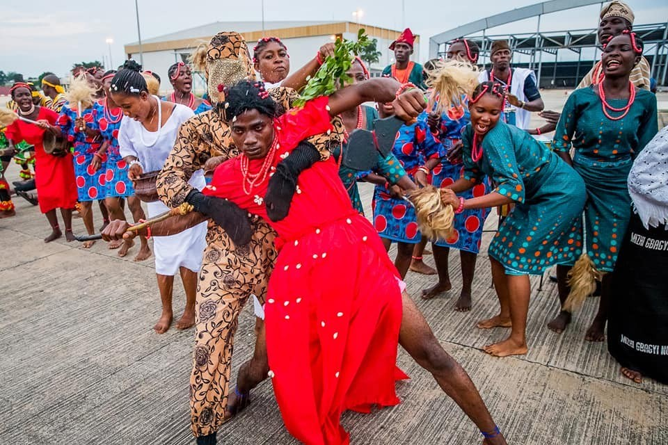 Sango dancers welcoming President Buhari