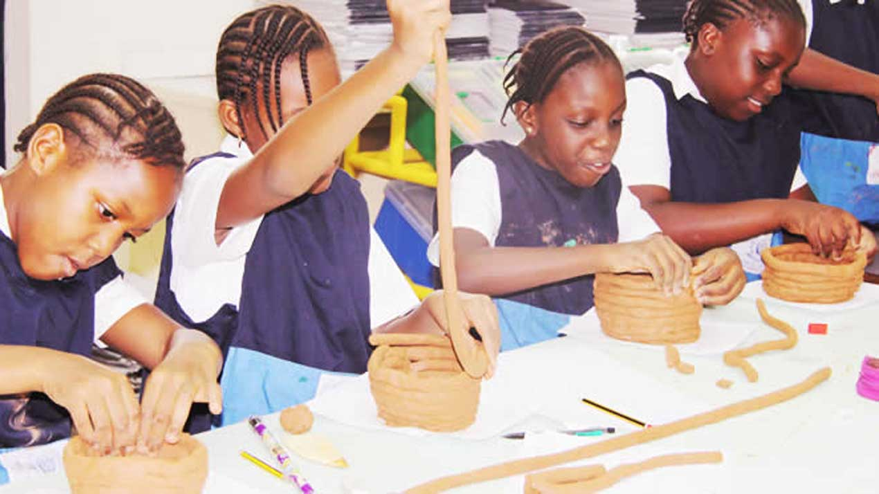 Pupils learning arts and design