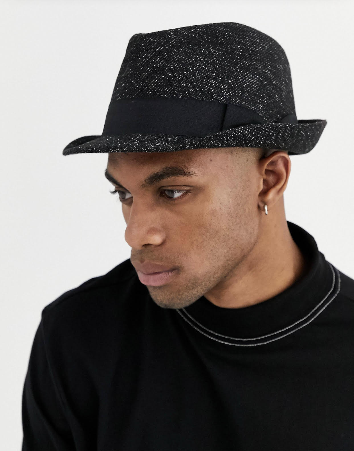 Black glittery Trilby Hat