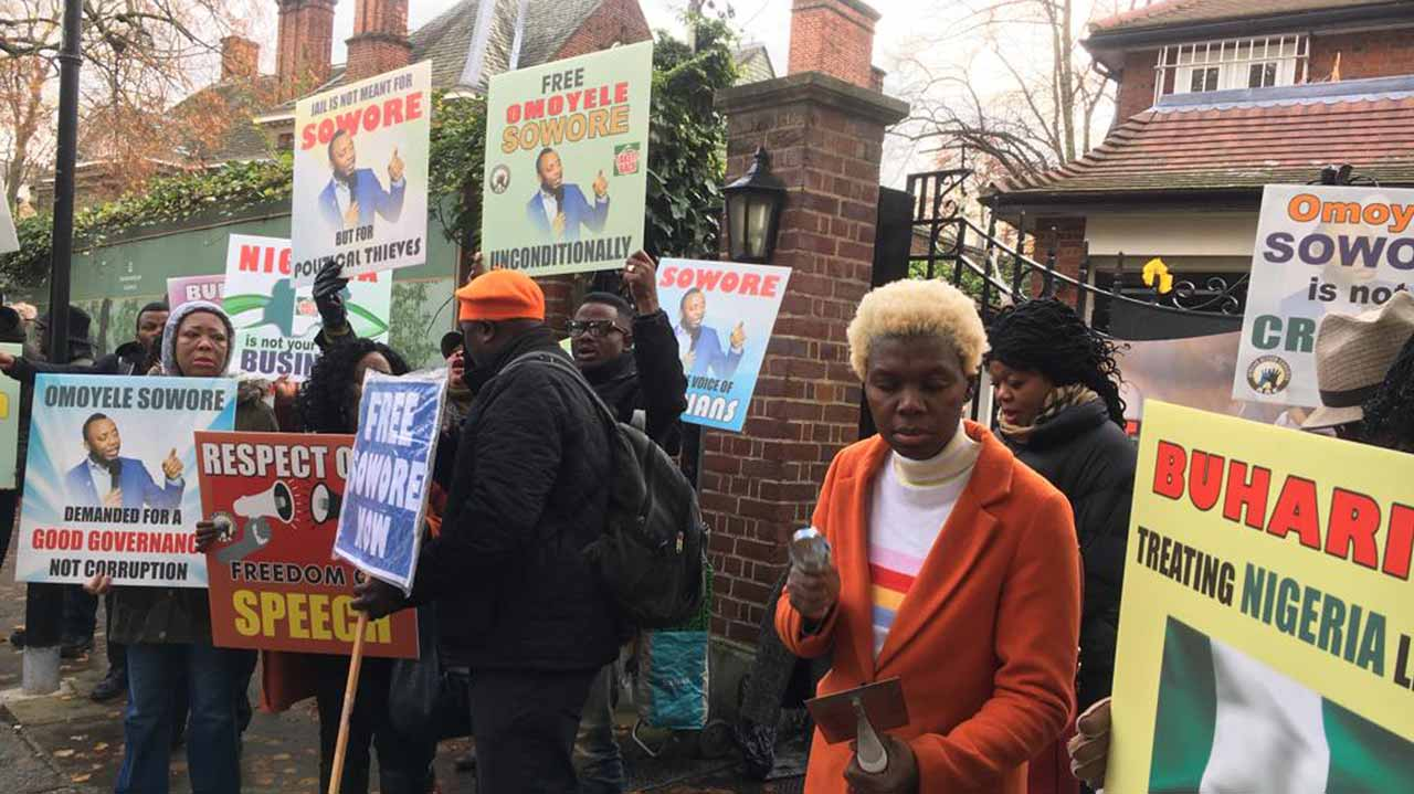 Nigerians in UK protest, demand release of Sowore, others