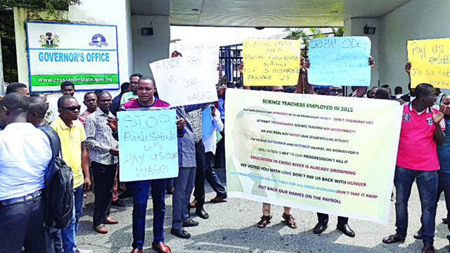 500 lawyers, teachers protest against alleged delisting of names from Cross River payroll - Guardian