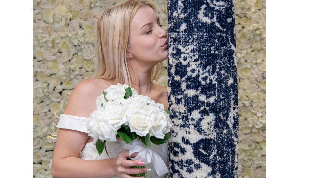 Image result for woman gets married to her rug in Uk