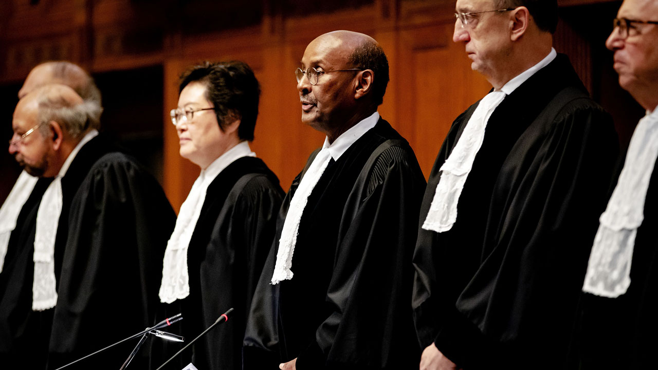 Image result for President of the International Court of Justice, Abdulqawi Ahmed Yusuf (centre), speaks during the ruling on January 23, 2020 in the lawsuit filed by The Gambia against Myanmar, in which Myanmar is accused of genocide against Rohingya Muslims.