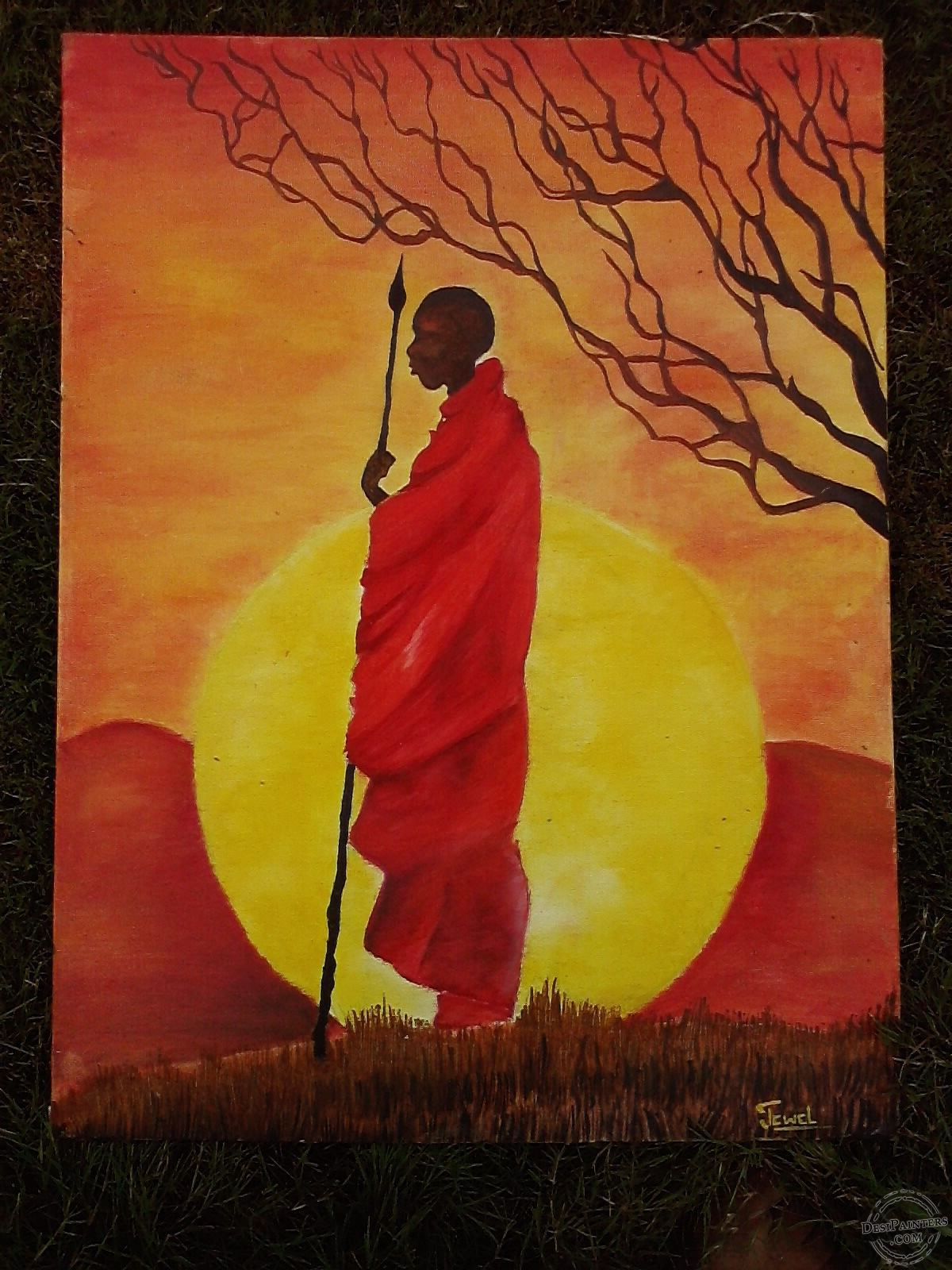 An oil painting of an ancient African man