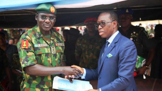 Okowa hosts Buratai, lists security challenges, inaugurates military formation - Guardian