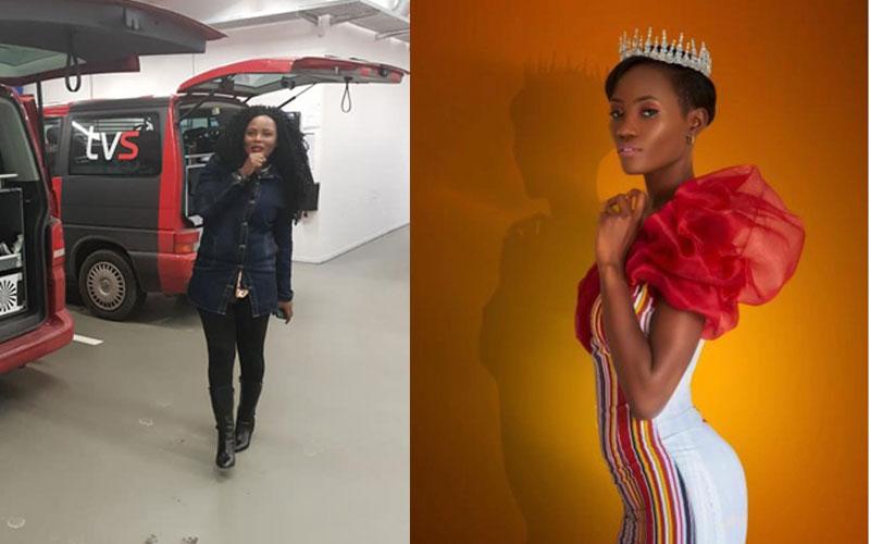 L-R- Joan Lule Nakintu and Miss Uganda Oliver Nakakande.