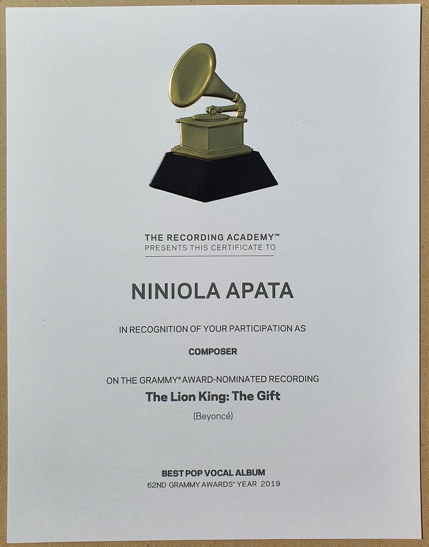 Niniola Grammy certificate