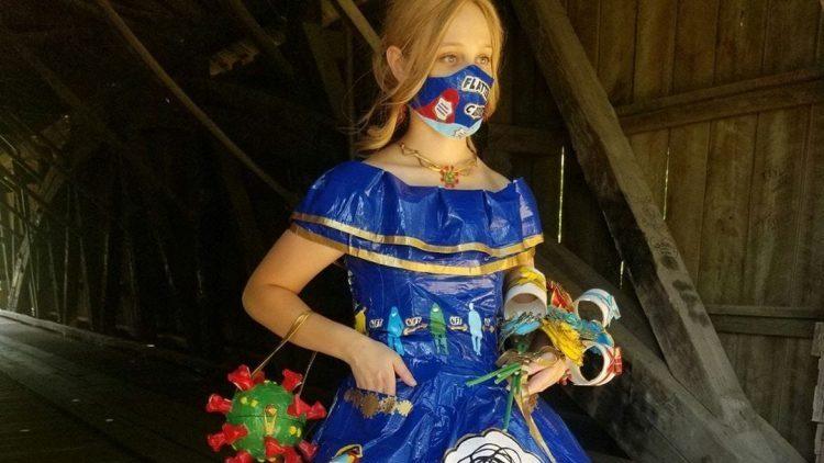 Peyton Manker ductape dress