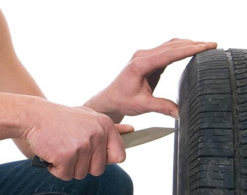Car tire slash