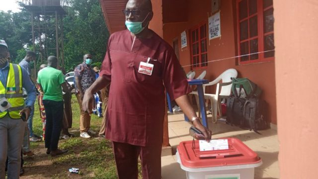 Ize-Iyamu votes at Ugboko ward 4, commends conduct of ElectionNews