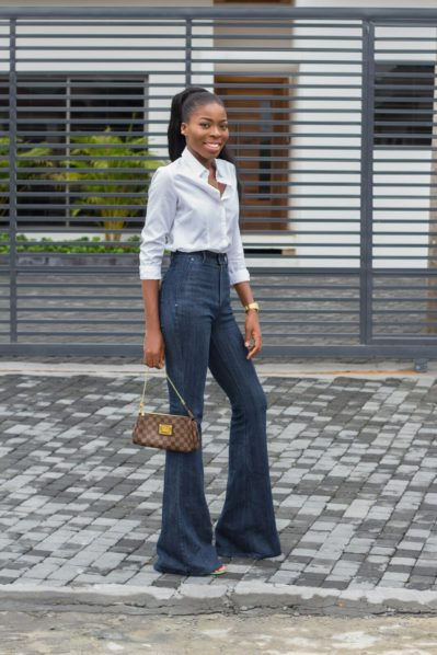 Fiola Kemi in a bootcut denim jeans