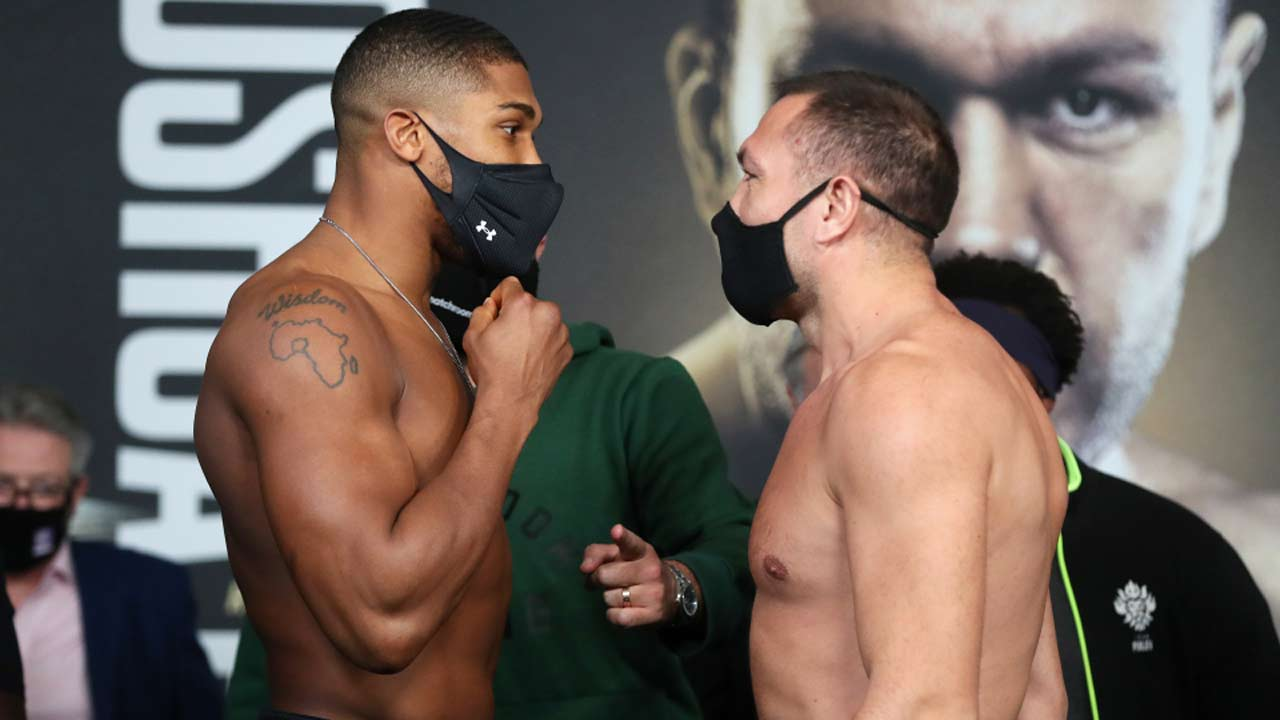 Joshua, Pulev weigh in, then talk trash wearing face masks