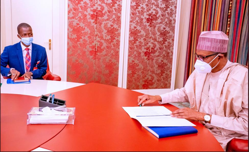 Buhari meets new EFCC boss <a class=