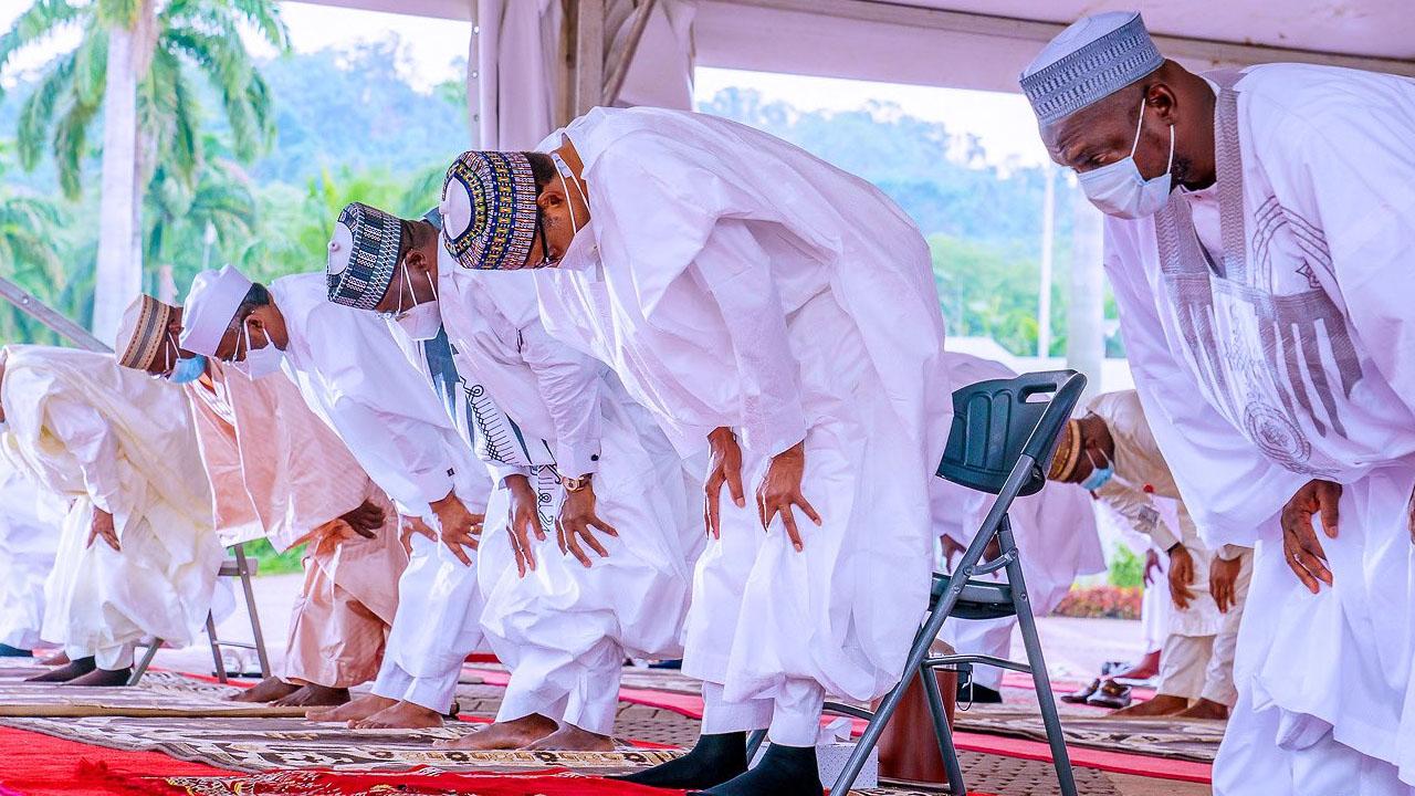 President Buhari, Senate President, Others Observed Eid Prayer At Aso Villa