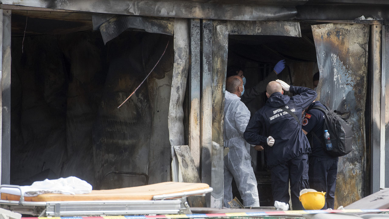 Ten dead in fire at Covid hospital in North Macedonia