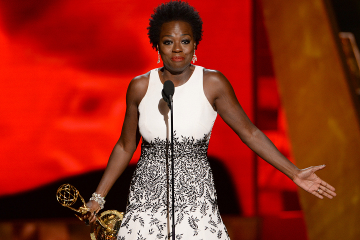 "IMAGE DISTRIBUTED FOR THE TELEVISION ACADEMY - Viola Davis accepts the award for outstanding lead actress in a drama series for ""How to Get Away With Murder"" at the 67th Primetime Emmy Awards on Sunday, Sept. 20, 2015, at the Microsoft Theater in Los Angeles. (Photo by Phil McCarten/Invision for the Television Academy/AP Images)"