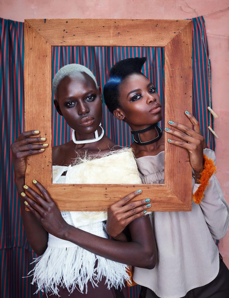 On Ajak – Couture Wrap: Nkwo, Top: Sophie Zinga, Pants: Omondi Choker: Needle & Thræd   On Maria – Top: Loza Maleombho, Pants: Omondi, Choker: Needle and Thread