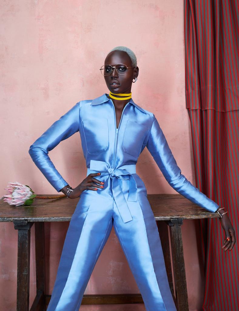 Jumpsuit: Tsemaye Binitie, Choker: Needle & Thræd, Earrings and bracelets: Third Crown, Vintage Glasses: Linda Derector