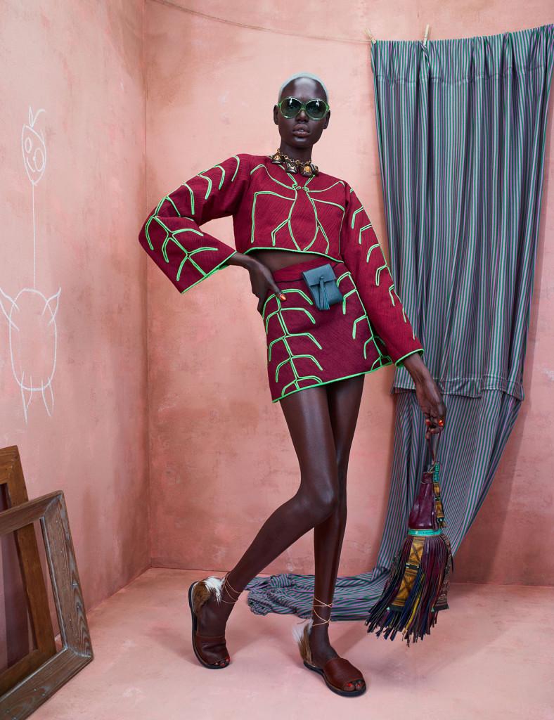 Top & Skirt: Re', Shoes: Brother Vellies, Green Waist Bag: Tree Fairfax for Orange Culture, Fringed Bag: Nomad Vintage NYC, Necklace: Vintage Sunglasses: Vintage