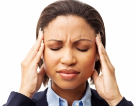 Female Executive Suffering From Headache - Isolated