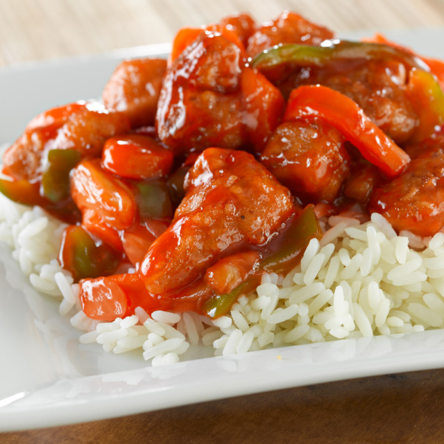 Chinese Food Red Sweet And Sour Sauce