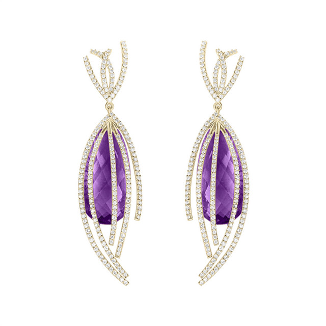 Shooting Star Earrings featuring Purple Amethyst