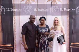 L-R Michael Owolabi, CEO, IL Bagno, Bola Shagaya and Julia D. Lantieri, CEO, Alter Ego Project Group at the opening of Alter Ego Private Atelier in Abuja on Thursday, Dec 15, 2015