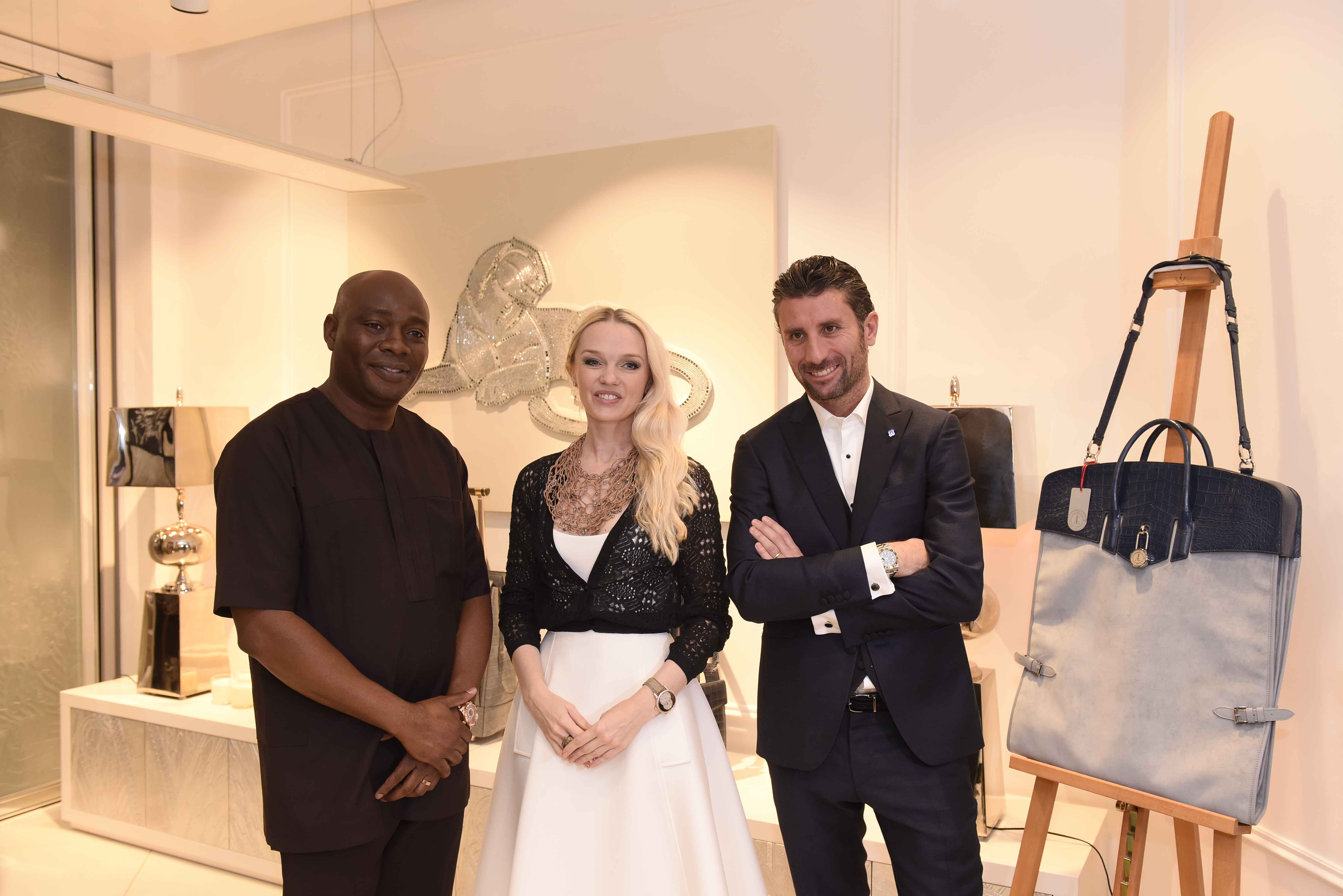 L-R Michael Owolabi, CEO, IL Bagno, Julia D. Lantieri, CEO, Alter Ego Project Group at the launch of Alter Ego and Davide Doro, CEO, Alchymia at the launch of Alter Ego Private Atelier in Abuja